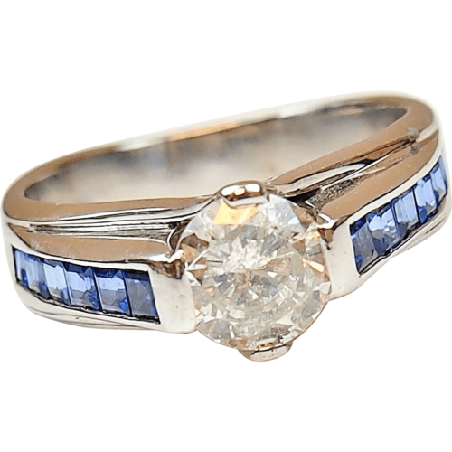 Custom   Ctw Diamond And Cabochon Sapphire Ring K White Gold