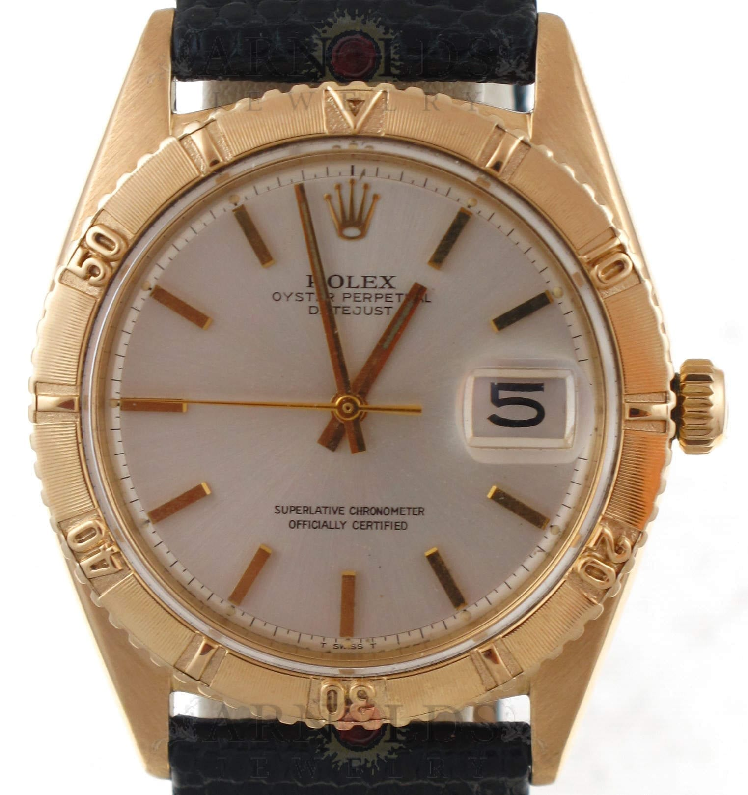 Pre Owned 1962 Vintage 18kt Yellow Gold Rolex Datejust Thunderbird Watch With Silver Stick Dial Black Leather Band Model 1625