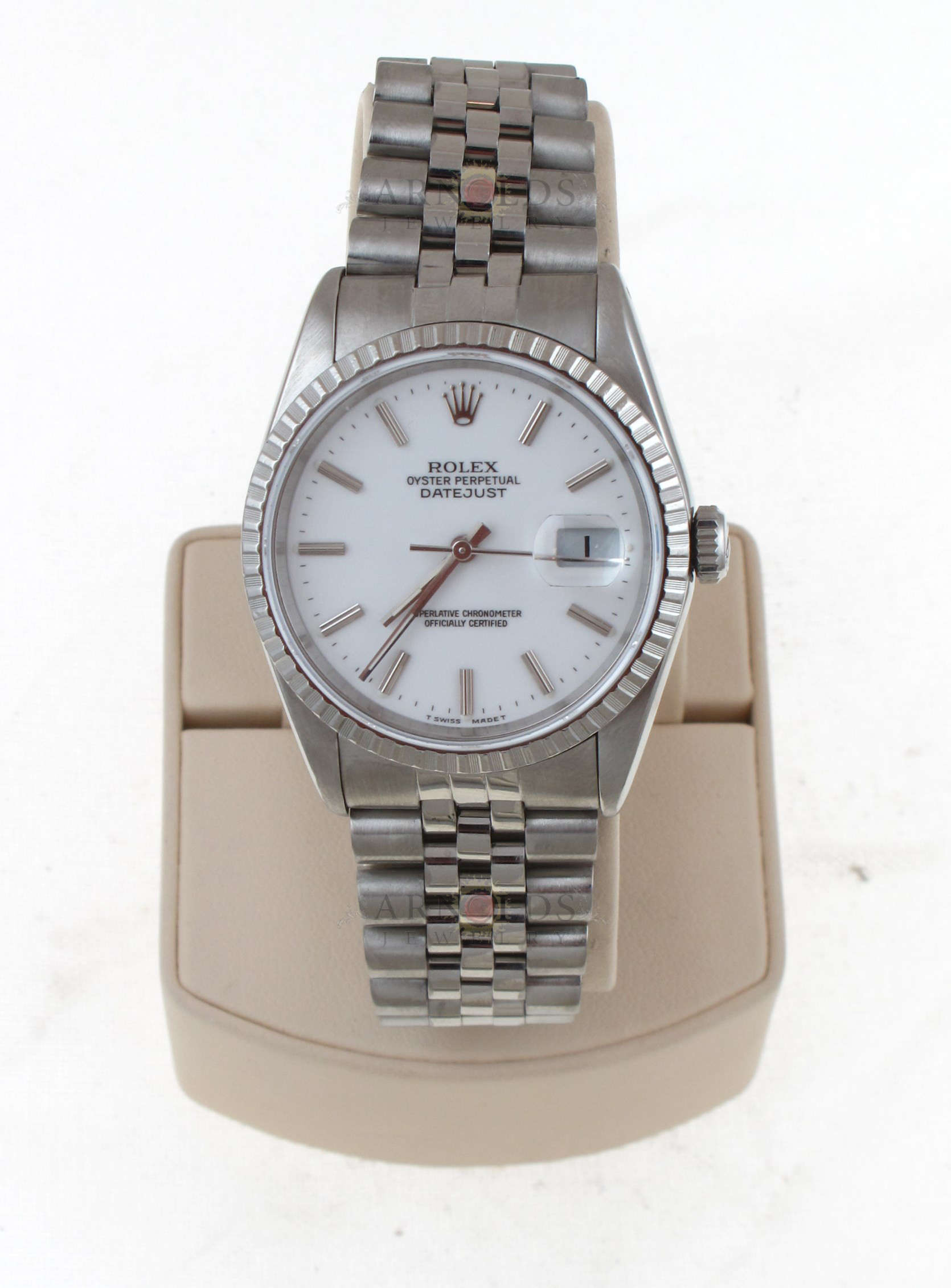 pre owned 1991 rolex stainless steel datejust watch with. Black Bedroom Furniture Sets. Home Design Ideas