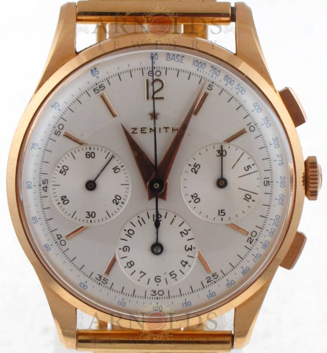Pre-Owned 1950's Vintage Zenith Chronograph 18kt Gold With Silver Dial and  18kt Gold Band Model#19529