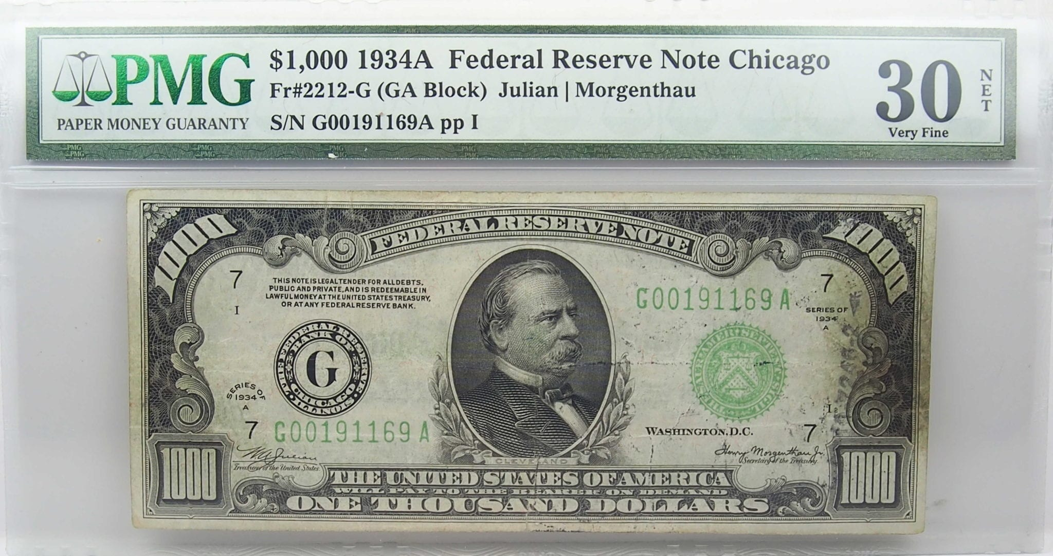 1934-A $1000 Federal Reserve Note Chicago VF30
