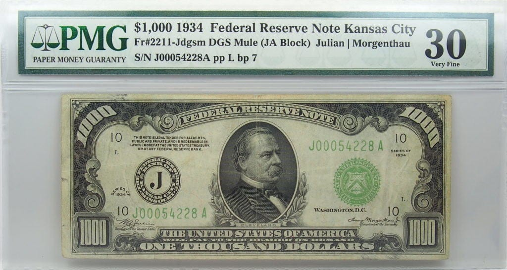 1934 1000 Mule Federal Reserve Note Kansas City Vf30