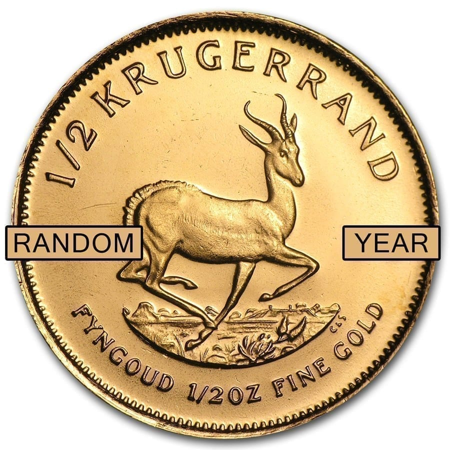 South Africa 1 2 Oz Gold Krugerrand Random Year