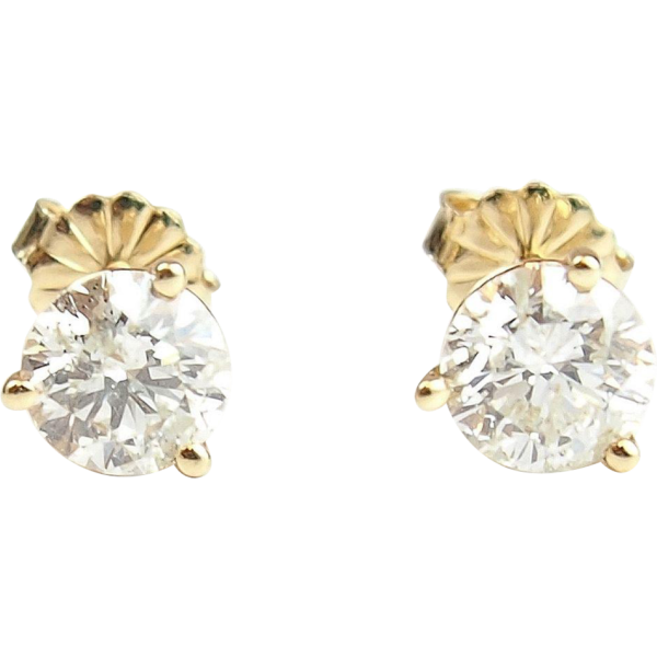 c2d58698bd64e 14k Gold 1.60 ctw Diamond Stud Earrings