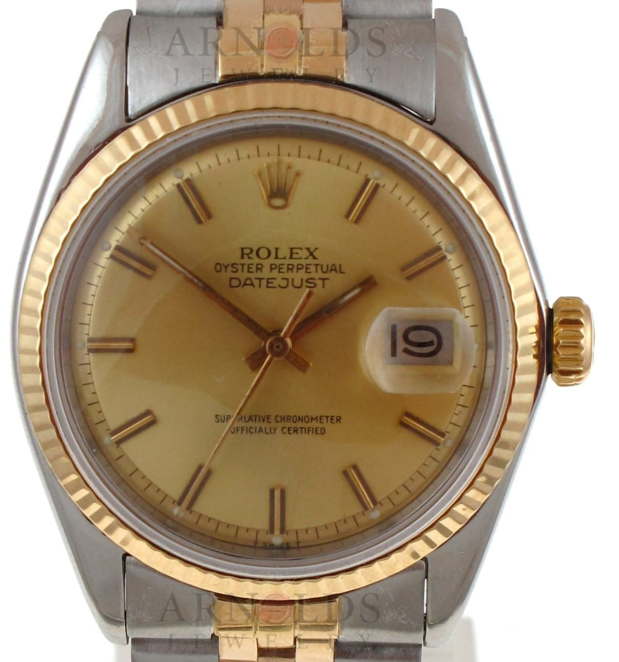Pre Owned 1972 Vintage Rolex Datejust Watch Two Tone With Champagne