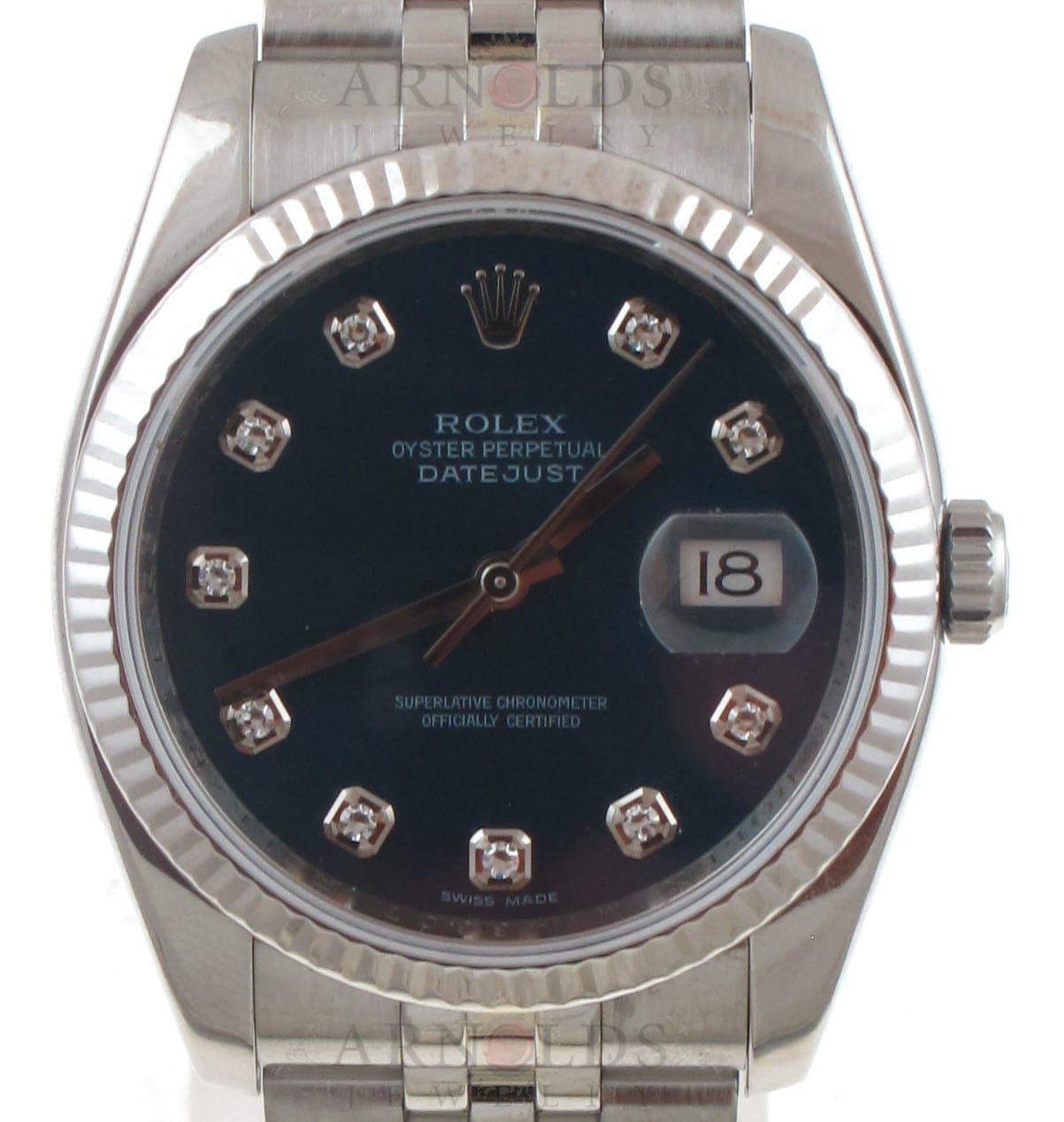 049b4905420 Previous; Next. 1; 2; 3. Previous; Next. Pre-Owned 2007 Stainless Steel  Rolex Datejust Watch Factory Blue Diamond Dial With White Gold ...
