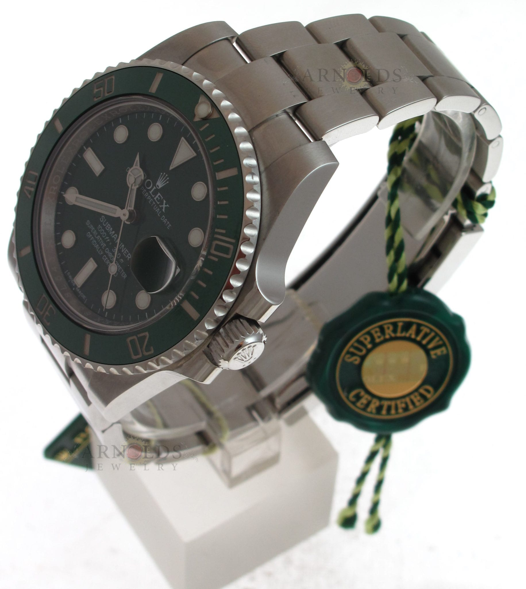 e7ff37058cc Pre-Owned 2015 (Like New Condition) Stainless Steel Rolex Submariner Watch  With Green Index Dial And Green Ceramic Bezel (The Hulk) With New Style  Oyster ...