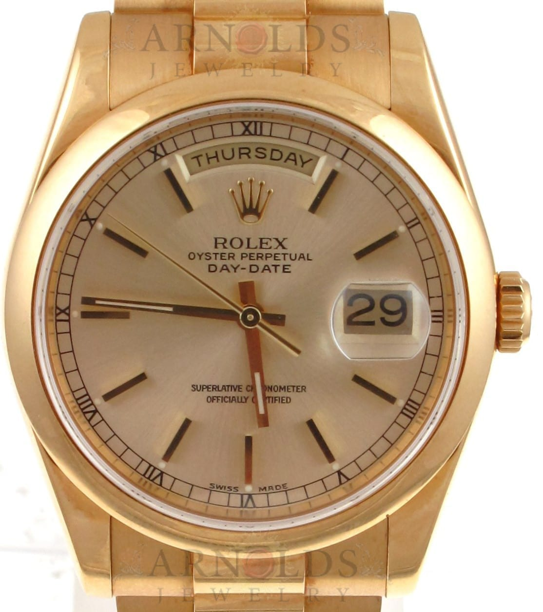 Pre Owned 2000 18k Yellow Gold Rolex Day Date Watch