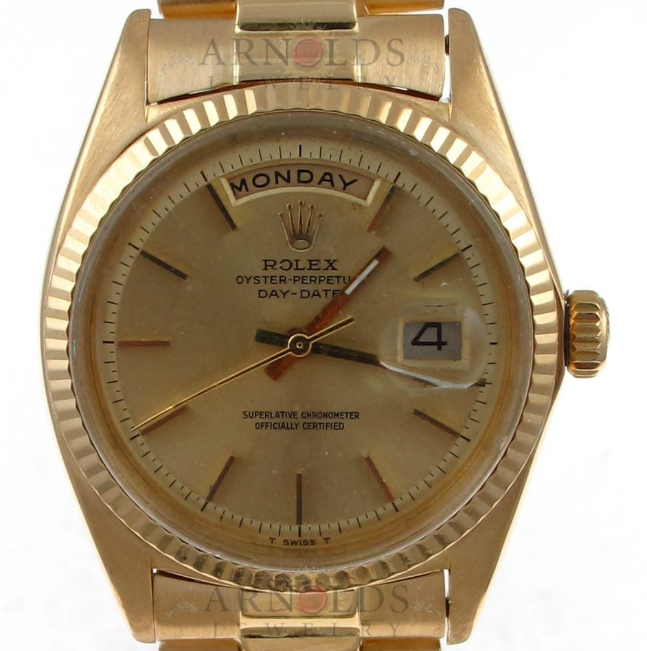 Pre Owned Rolex 18038 Day Date Yellow Gold Ferrite Dial