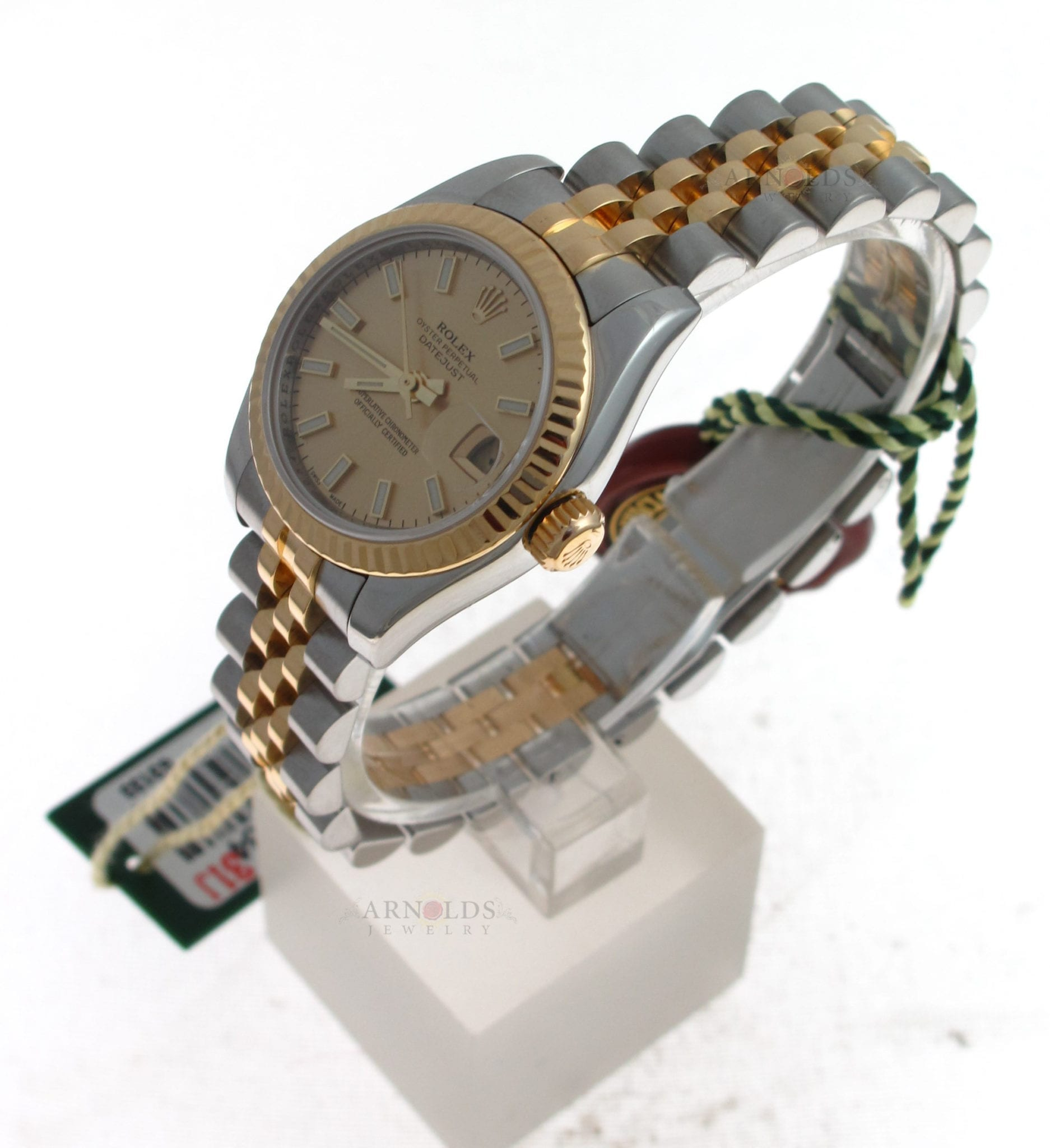 e77e5214149 Previous; Next. 1; 2; 3. Previous; Next. Pre-Owned 2008 Ladies Two Tone Rolex  Datejust Watch Champagne Stick Dial ...