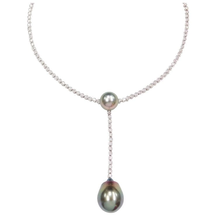 aaa1c1fec Previous; Next. 1; 2; 3; 4. Previous; Next. Breathtaking Black South Seas Tahitian  Pearl and Diamond Choker Necklace 18k White Gold